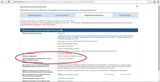 eb8159818fc6 В приведенном ниже скриншоте в закупке №0351100016814000018 выделены строки  «причина завершения общественного обсуждения» и «сроки проведения 1 этапа».
